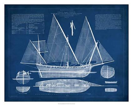 Art print of antique ship blueprint iii by vision studio barewalls art print of antique ship blueprint iii by vision studio malvernweather Gallery