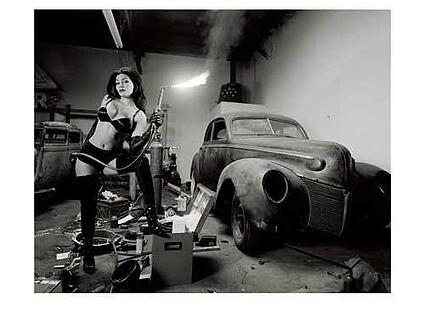 Art print of rat rod blow torch pin up poster by david perry
