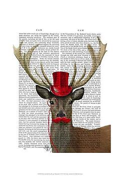Deer with Red Top Hat and Moustache by Fab Funky 03973c4d8133