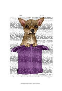 Art Print of Chihuahua in Top Hat by Fab Funky  307649d66466