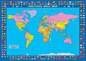 Map Of The World Flags.Political Map World Flags Art Print Poster