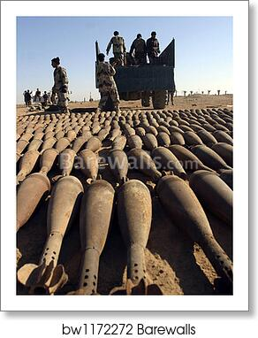 Soldiers load 120 millimeter white phosphorous mortar rounds onto an ING  truck  by Stocktrek Images art print poster