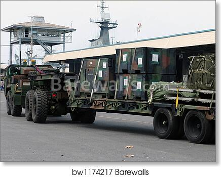 A U  S  Marine Corps MK48 logistics vehicle system  by Stocktrek Images art  print poster