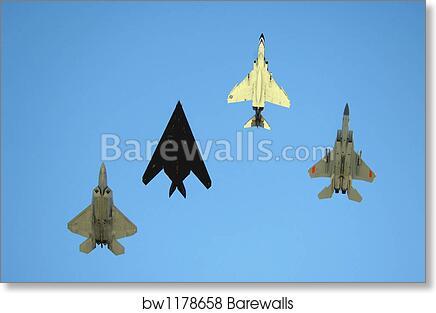 An F 22 Raptor An F 117 Nighthawk An F 4 Phantom And An F 15 Eagle In Flight By Stocktrek Images Art Print Barewalls Posters Prints Bw1178658