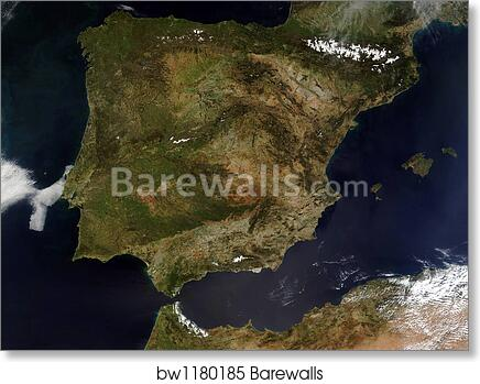 Satellite Map Of Spain.Satellite View Of Spain And Portugal By Stocktrek Images Art Print Poster