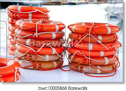 art print of buoys round lifesaver stacked for boat safety