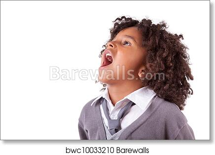 art print of portrait of a cute african little boy screaming