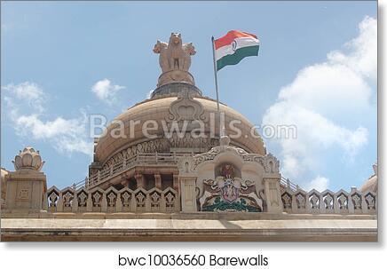 Art Print Of Indian National Flag In Tri Color Orange White Green With Ashoka Chakra On Vidhana Soudha Legislative Building At Bangalore