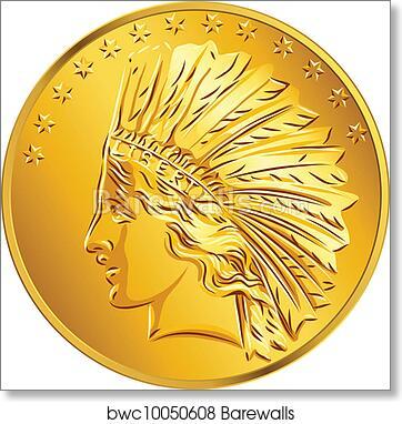 Vector American money gold coin dollar art print poster
