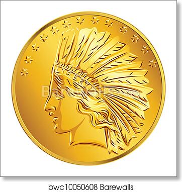 Vector American money gold coin dollar art print poster