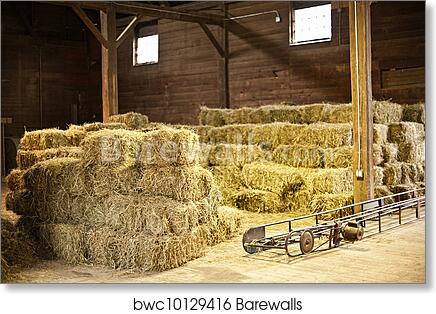 Art Print Of Interior Barn With Hay Bales