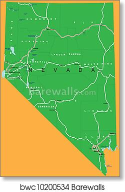 Political Map Of Nevada.State Of Nevada Political Map Art Print Barewalls Posters
