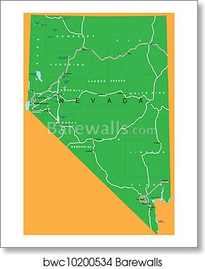 State Of Nevada Political Map Art Print Barewalls Posters
