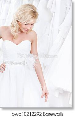 Trying On A Charming Wedding Gown Art Print Poster