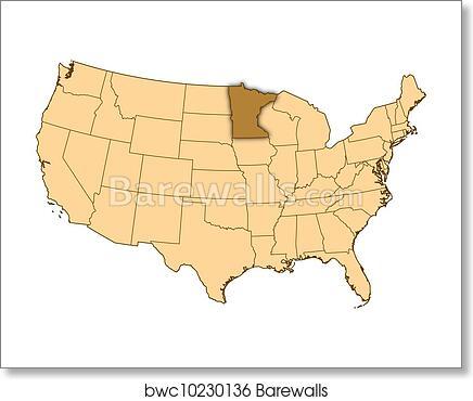 Map of United States, Minnesota highlighted, Art Print   Barewalls ...