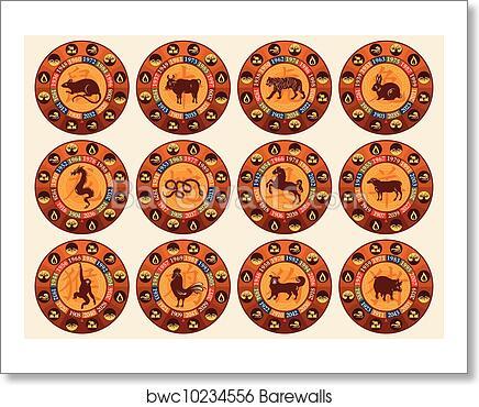 Art Print Of Chinese Zodiac Set Barewalls Posters Prints