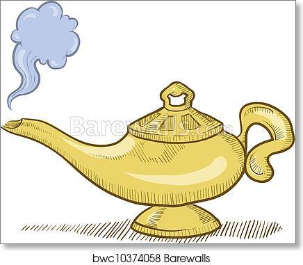 Art Print Of Genie Lamp Sketch