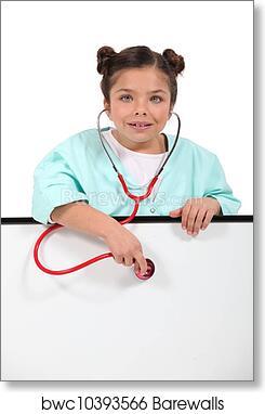 7c6a2f9a278 Little girl dressed as nurse art print poster