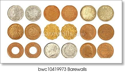Collection of old Indian coins art print poster