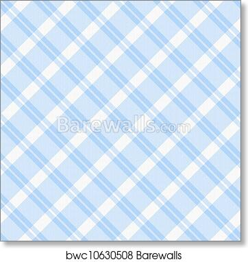 Art Print Of Light Blue Plaid Fabric Background