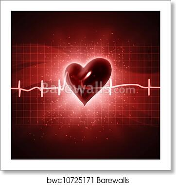 Ecg Abstract Backgrounds With Human 3d Rendered Heart Art Print Poster