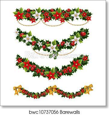 Christmas Garlands.Christmas Garlands Of Holly 2 Art Print Poster