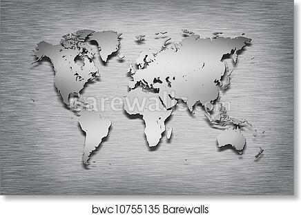Art print of metal look world map on paper barewalls posters art print of metal look world map on paper barewalls posters prints bwc10755135 gumiabroncs Choice Image
