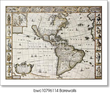 Map Of Old America.America Old Map Art Print Barewalls Posters Prints Bwc10796114