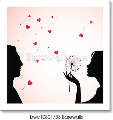 Man And Woman Faces Silhouettes Art Print Barewalls Posters Prints Bwc10801733