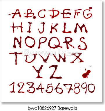 Letters A-Z and 1-10 dripping with blood on white background, Art Print