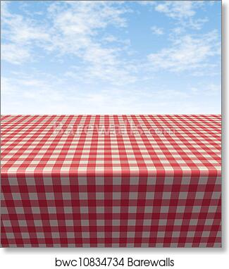 Art Print Of Checkered Tablecloth Table
