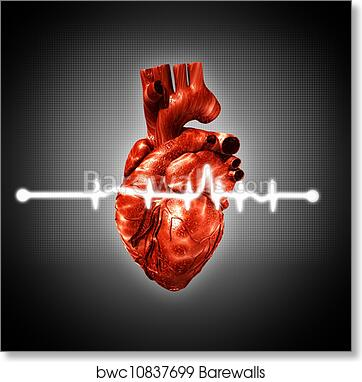 Medical Abstract Backgrounds With Human 3d Rendered Heart Art Print Poster