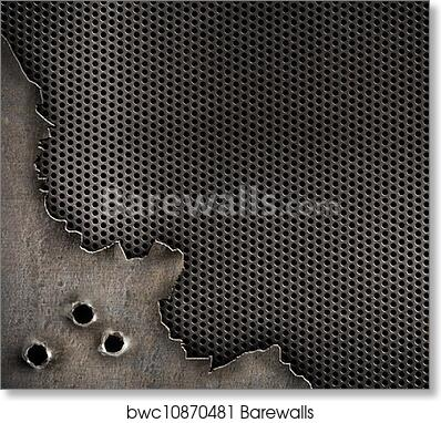 Metal With Bullet Holes Military Background Art Print Poster