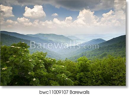 Blue Ridge Parkway Scenic Mountains Overlook Summer Landscape Asheville Nc At Craggy Gardens In Wnc Art Print Poster