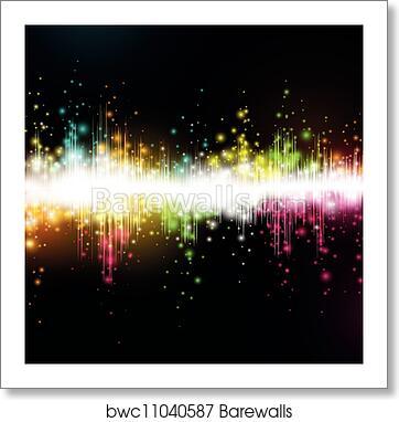Vector music equalizer wave art print poster