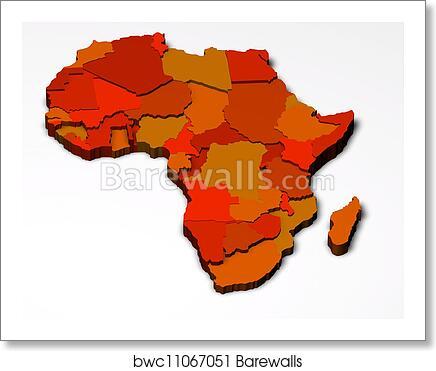 Map Of Africa 3d.Political Map Of Africa 3d Art Print Barewalls Posters Prints