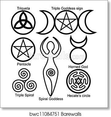Art Print Of Set Of The Wiccan Symbols Barewalls Posters Prints