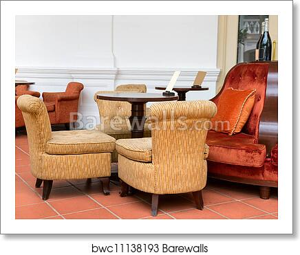 Art Print Of Vintage Cafe With Easy Armchairs And Sofas