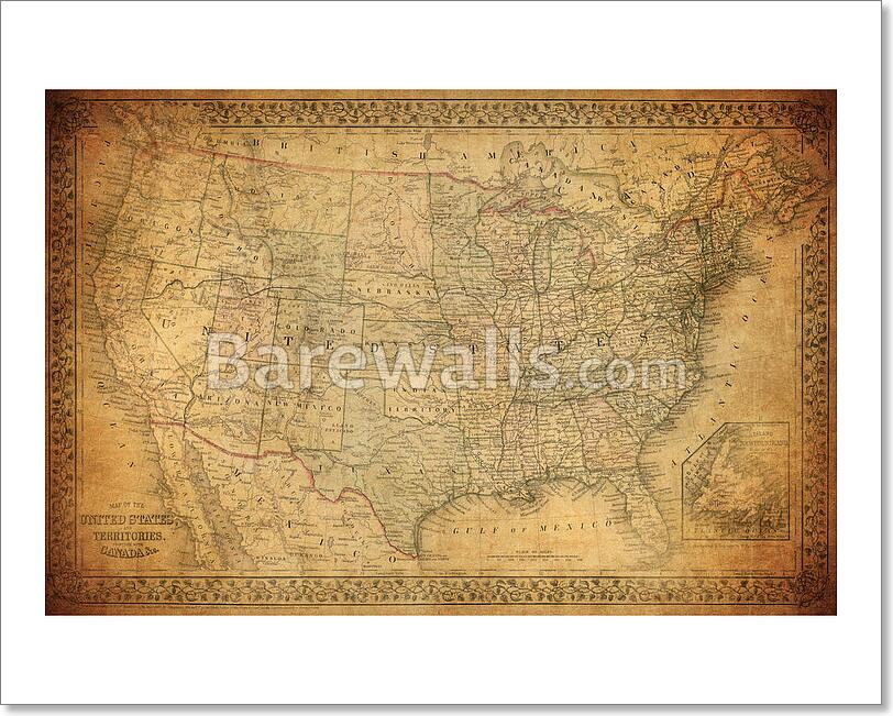 Vintage Map Of United States 1867 Art Print Home Decor Wall Art