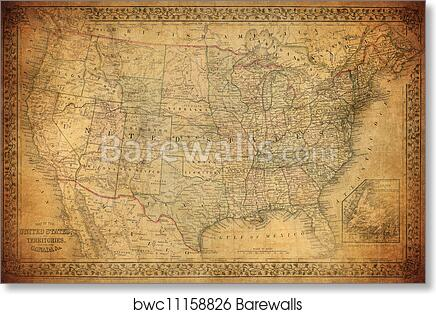 Vintage Map Of The United States.Art Print Of Vintage Map Of United States 1867 Barewalls Posters