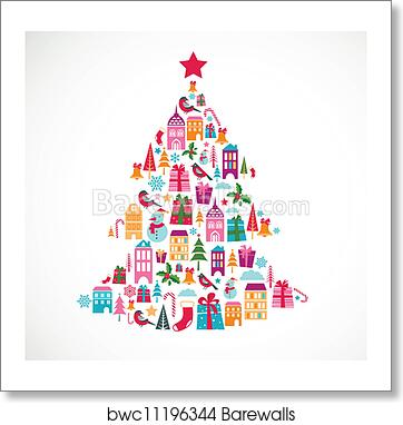 abstract christmas tree with cute icons and design element art print barewalls posters prints bwc11196344 abstract christmas tree with cute icons and design element art print poster