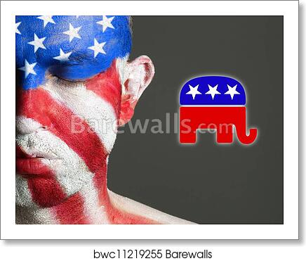Art Print Of Man Face Flag Usa Eyes Closed Republican Symbol