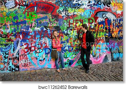 Art Print of John Lennon wall in Prague and young beautiful couple ...