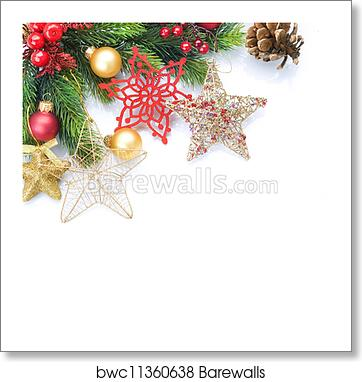 Christmas Border Design.Christmas Border Over White Corner Design Art Print Poster