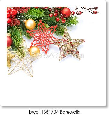 Christmas Images To Print.Christmas Border Over White Corner Design Art Print Poster