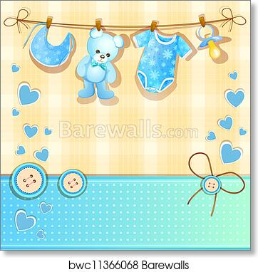 graphic relating to Baby Shower Card Printable identified as Blue boy or girl shower card artwork print poster