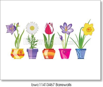 Spring Flowers In Pots Art Print Barewalls Posters Prints