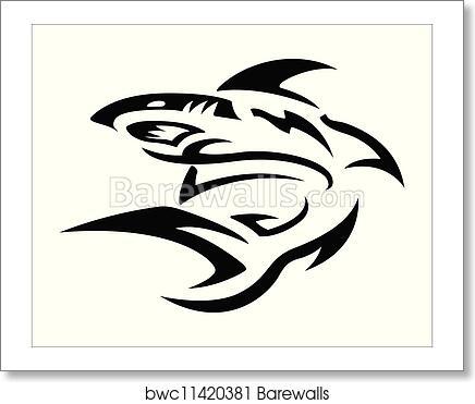 Art Print of Tribal Tattoo Design - Shark | Barewalls Posters ...