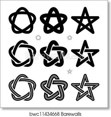 Vector medieval Occult signs art print poster