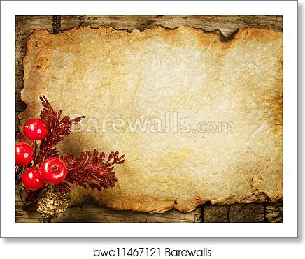 Christmas Decorations On The Old Paper With Copyspace Art Print Poster